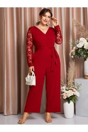 YOINS Plus Size Belt Design Lace Patchwork Design Long Sleeves Jumpsuit