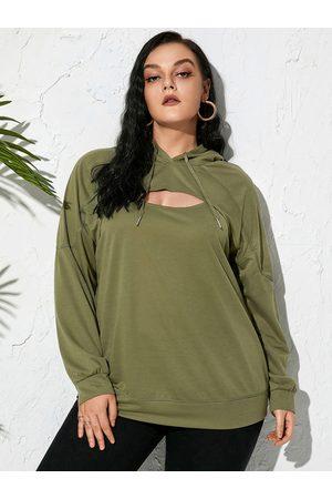 Yoins Plus Size Cut Out Hooded Design Long Sleeves Sweatshirt