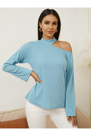YOINS Cut Out Design Cold Shoulder Long Sleeves Tee