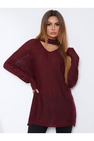 YOINS Red Dolman Sleeve V-neck Sweater With Collar