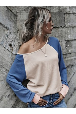 Yoins Color Block Patchwork Round Neck Long Sleeves Tee