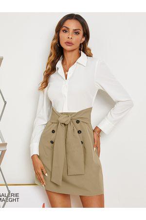 Yoins Front Button Tie-up Design Patchwork Long Sleeves Shirt Dress
