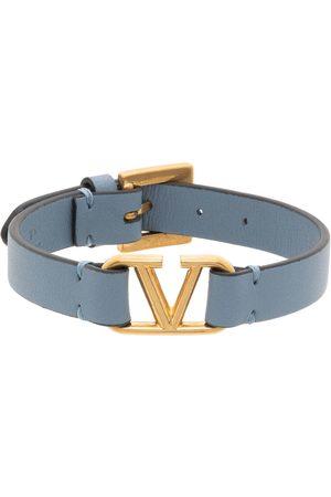 Valentino Garavani Blue Leather VLogo Bracelet