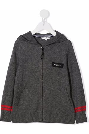 Givenchy Kids Logo patch knitted hoodie