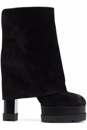 Casadei Ribbed-panel suede boots