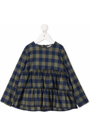 Il Gufo Gingham-check smocked blouse