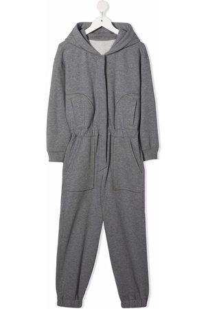 Brunello Cucinelli Kids Elasticated waistband hooded jumpsuit