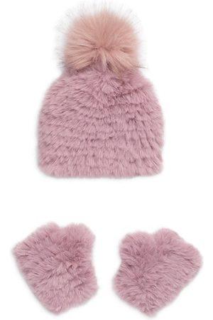 JOCELYN Girls Hats - Girl's 2-Piece Faux Fur Knit Hat & Mittens Set