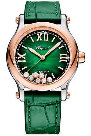 Chopard Happy Sport Stainless Steel, 18K Rose Gold, Diamond & Alligator Leather Strap Watch