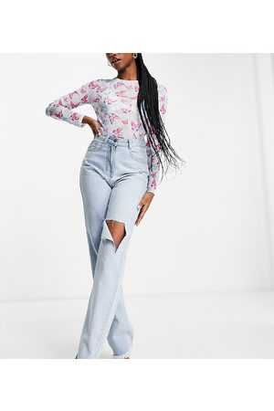Missyempire Exclusive straight leg jean with rips in