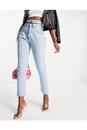 Lasula Women Straight - Double band detail straight leg jean in