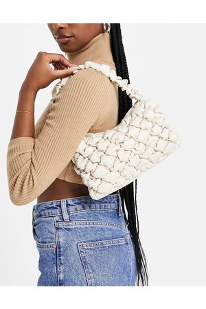 Monki Taro recycled quilted satin shoulder bag in -Neutral