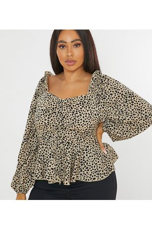 Missguided Ruched blouse in dalmatian print