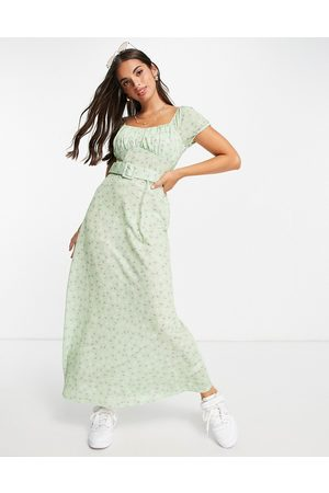 ASOS DESIGN Women Casual Dresses - Cupped detail maxi dress with belt in green ditsy floral-Multi