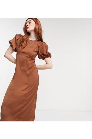 Reclaimed Vintage Inspired satin midi tea dress in brown