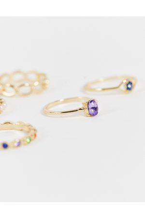 Reclaimed Vintage Inspired rings with multicolour stones in 5 pack