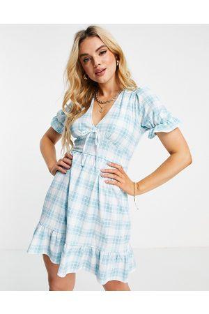 River Island Button front check mini dress in