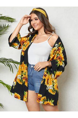 YOINS Plus Size Floral Print 3/4 Length Sleeves Kimono