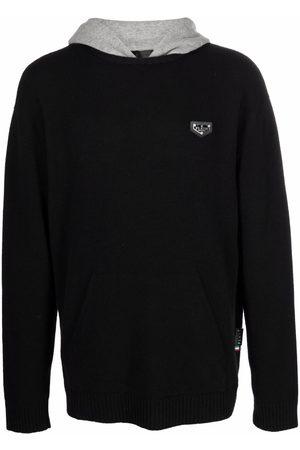 Philipp Plein Men Sweatshirts - Logo-plaque knitted hoodie