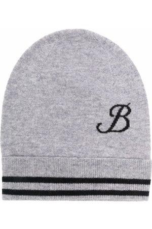 DEE OCLEPPO Women Beanies - Stripe-detail letter B beanie