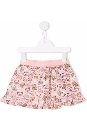 Moschino Teddy-print ruffled-hem skirt