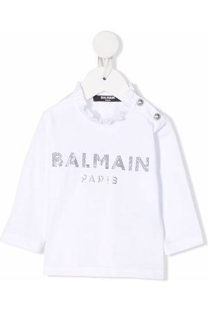 Balmain Embellished-logo long-sleeved T-shirt