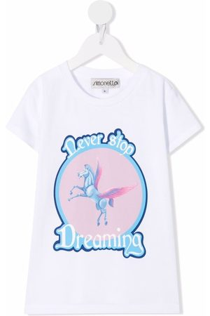 Simonetta Girls Short Sleeve - Slogan-print cotton T-shirt