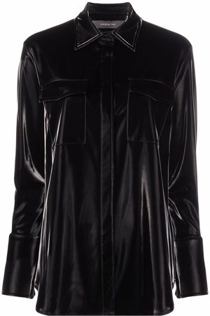 FEDERICA TOSI Flap-pocket faux-leather shirt