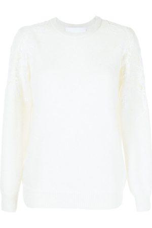 Costarellos Lace-trim mohair-blend jumper