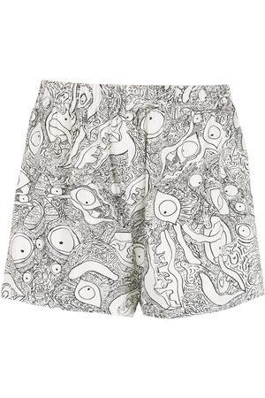 AMIR SLAMA Abstract-print cotton shorts