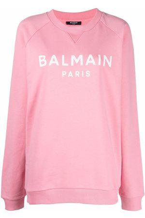 Balmain Women Sweatshirts - Logo-print crewneck sweatshirt