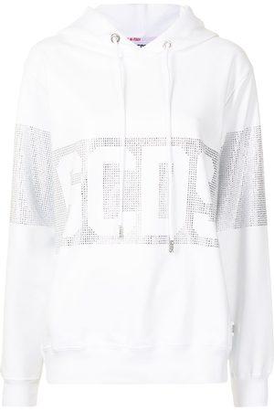 GCDS Rhinestone-logo cotton hoodie