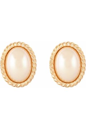 Dior 1980s pre-owned pearl-embellished oval clip-on earrings