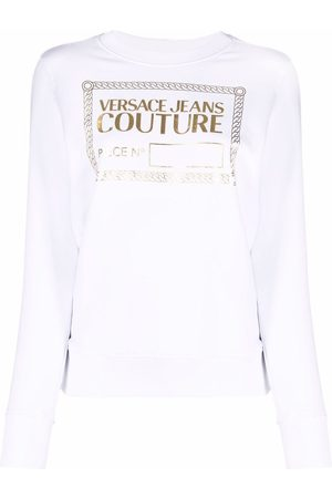 VERSACE Women Sweatshirts - Foiled logo-print sweatshirt