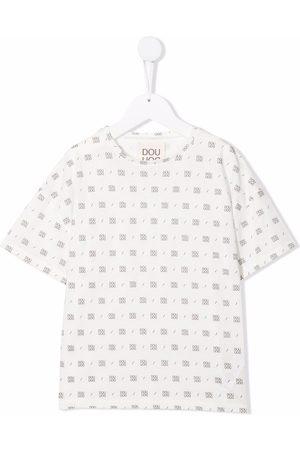 DOUUOD KIDS Girls Short Sleeve - Monogram-print cotton T-Shirt