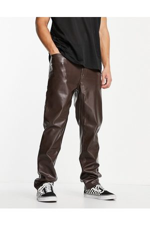 ASOS Men Chinos - Dad fit trousers in leather look