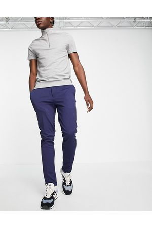 JACK & JONES Men Chinos - Intelligence slim fit stretch trousers with pleats in navy with organic cotton