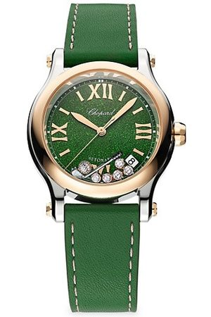 Chopard Watches - Happy Golf Stainless Steel, 18K Rose Gold & Leather Strap Watch
