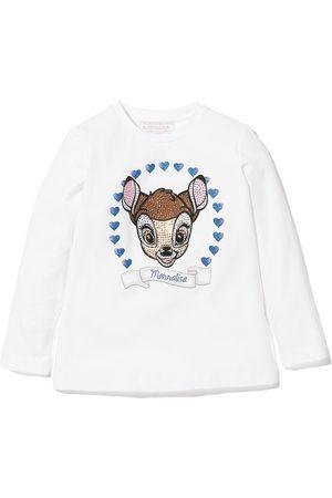 Monnalisa Girls Long Sleeve - Bambi print long sleeve T-shirt