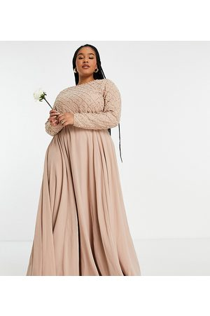 ASOS Women Party Dresses - ASOS DESIGN Curve Bridesmaid maxi dress with long sleeve in pearl and beaded embellishment with tulle skirt