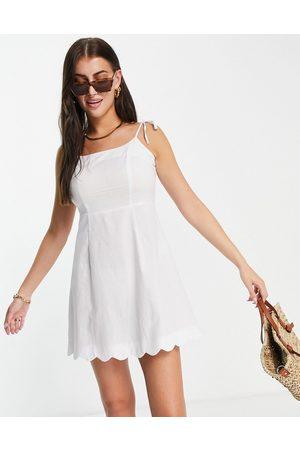 Fashion Union Women Casual Dresses - Mini square neck fitted beach dress with scallop trim in