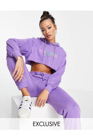 Reclaimed Women Sweatshirts - Inspired crop hoodie with rainbow logo print in