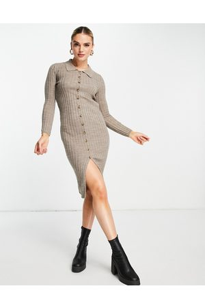 Vila Knitted rib midi dress with button front in sand