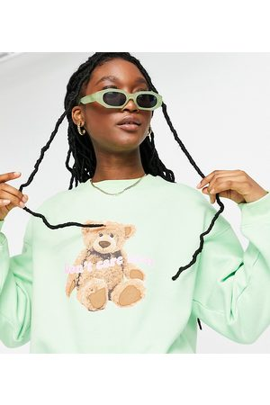 Daisy Street Women Sweatshirts - Relaxed sweatshirt with bear print