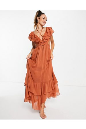 ASOS Women Maxi Dresses - Ruffle maxi dress with lace up back and satin trims