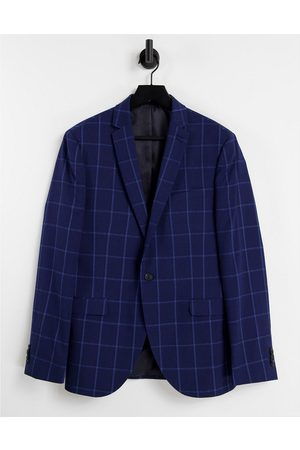 Topman Super skinny fit windowpane check single breasted suit blazer with notch lapels in navy