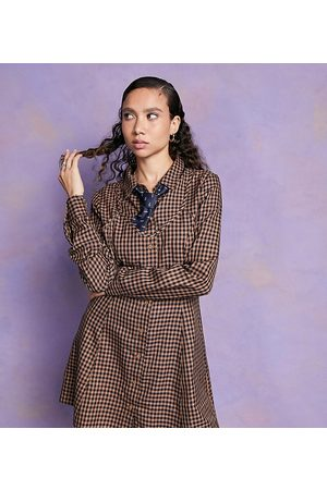 Collusion Women Casual Dresses - Mini shirt dress with bra top in check