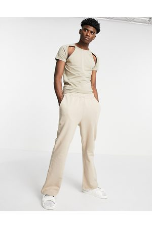ASOS DESIGN Flared joggers in -Neutral