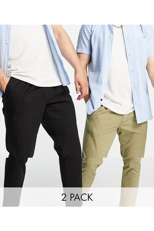 ASOS 2 pack cigarette chinos with pleats in black and khaki save-Multi