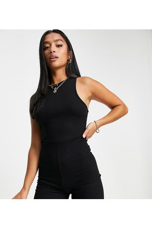 Missguided Ribbed racer neck unitard in